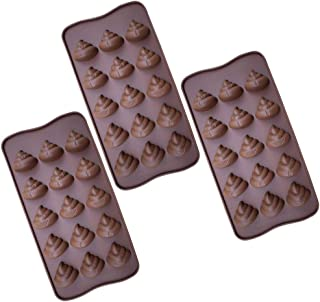 Hemoton 3pcs 15 Even Baking Molds Cute Poop Shaped Chocolate Mold Stool Candy Molds for Desert Kitchen Jello