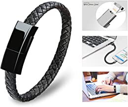 Dzzkoye USB Charging Cable Bracelet Portable Leather Charger Cord for iPhone iPad, iPod, Air Pods (Black M)