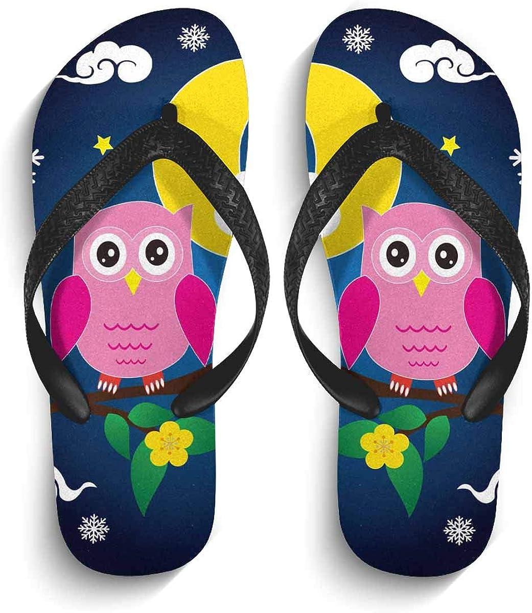 InterestPrint Non-Slip Flip Flops Sandal Cute Owl Unique Snowflakes Winter Lightweight Summer Beach Thong Slippers for Men L