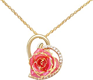 Rose Pendant Necklace 24K Gold Dipped Real Rose Pendant with 24k Gold Plating Chain, Best Gifts for Wife Girlfriend Mother Women for Mother's Day Anniversary Birthday