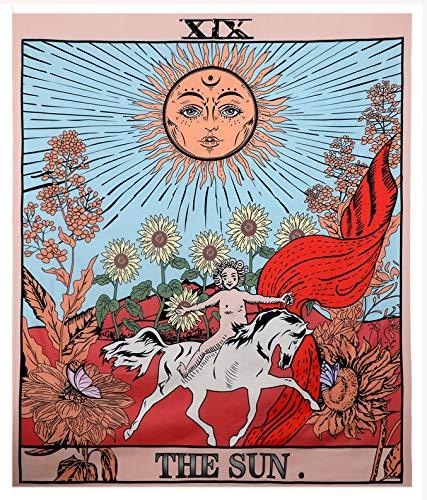 Tarot-Wandteppich / Tapisserie / Wandbehang, Motiv: Tarotkarte, Mond, Stern, Sonne, europ?ischer Mittelalter-Stil, Wahrsagerei, Wandteppich Sonne