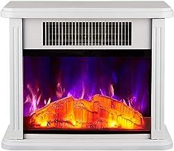 YLJYJ Calefacción eléctrica de la Estufa con Estufa de leña Efecto de Llama con Control de termostato Ajustable Sala de Estar de pie 750 1500W calefacción Negro