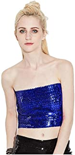 C.C-US Womens Sequins Tube Top Sexy Stretchy Crop Top Party Costume Clubwear Camisoles