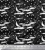 Soimoi Weiß Poly Krepp Stoff Wolken, Sterne und Mond