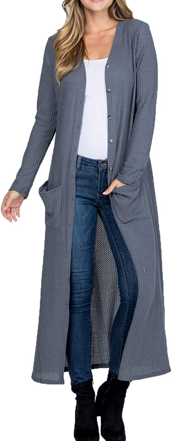 Women Lightweight Waffle Sweater Knit Long Sleeve Drape Maxi Button Down Duster Cardigan with Pockets