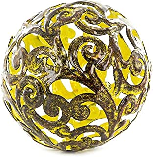 Yellow Fancy Metal Decorative Sphere