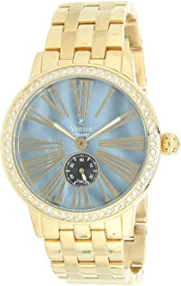 Venice V8119-IPG-BL Stainless Steel Stone embellished Bezel Grey-Dial Round Analog Watch for Women - Gold