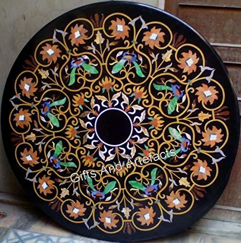 Mesa de comedor con incrustaciones de lujo, hecha a mano, color negro, con Pietra Dura Art 36 pulgadas