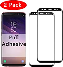 2 Pack【Full Adhesive】S8 Screen Protector Compatible With Samsung Galaxy s8 Tempered Glass [Anti-Scratch] [High Definition] 3D Curved Temper Glaxay s 8 Full Glue Cover 8s Protective Flim【2-Pack】(Black)