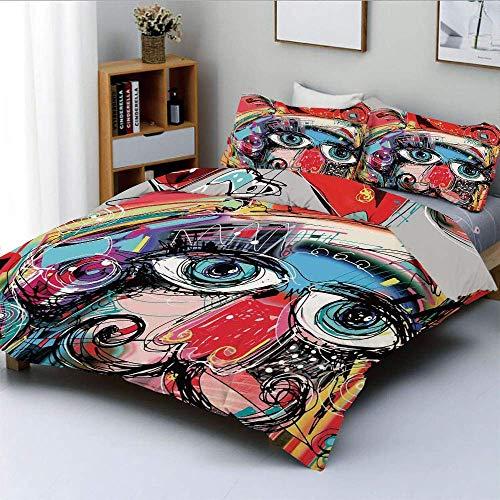 Qoqon Bettbezug-Set, Grafitti wie skizzenhafte Bunte Malerei mit menschlichem Gesicht Hund Tier ImageDecorative 3-teiliges Bettwäscheset mit 2 Kissen Sham, Mehrfarbig, Kinder