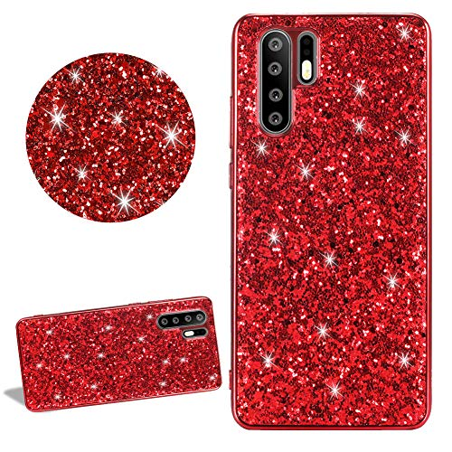 Bling Sparkle Glitter Silicone Phone Case for Huawei P30 Lite,DasKAn Shiny Electroplated Frame Soft Rubber Back Cover Ultra Thin Slim Fit Anti Scratch Shockproof Gel TPU Protective Skin,Red