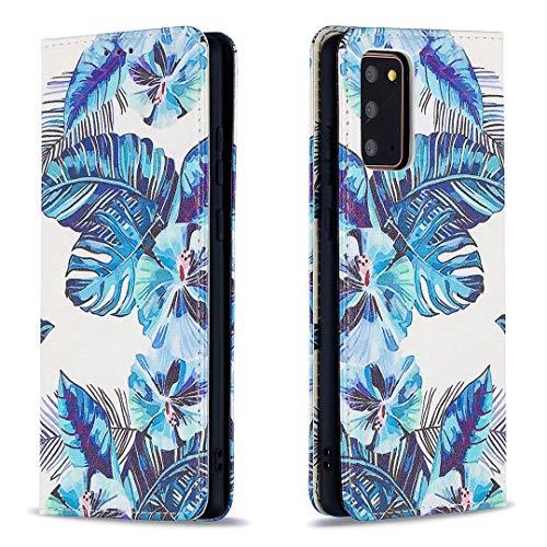 Miagon Brieftasche Hülle für Samsung Galaxy Note 20,Kreativ Gemalt Handytasche Case PU Leder Geldbörse mit Kartenfach Wallet Cover Klapphülle,Blatt