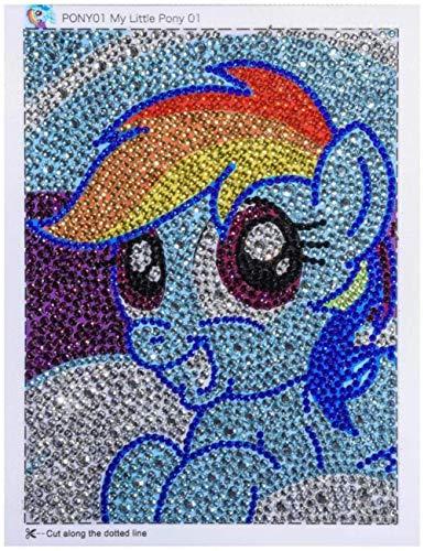 Gems Stones Blue House DIY Full Diamond Cartoon Painting Children Special Diamond Shaped Rhinestone Embroidery Kit Painting for Kids