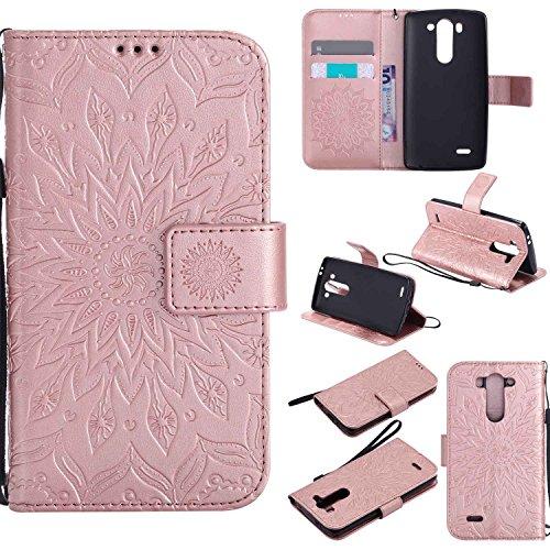 pinlu® PU Leder Tasche Etui Schutzhülle für LG G3 s (5 Zoll) Lederhülle Schale Flip Cover Tasche mit Standfunktion Sonnenblume Muster Hülle (Roségold)