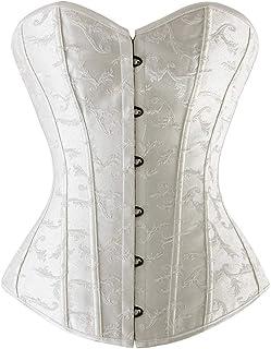 CHARMIAN Women's Satin Bridal Overbust Boned Wedding Dress Bustier Corset Top