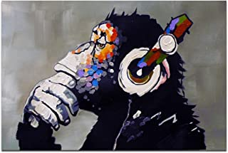 The Monkey Wearing Headphone and red Flowers Wall Art Oil Paintings Animal Canvas Prints for Home Decorations (28X40 inch)