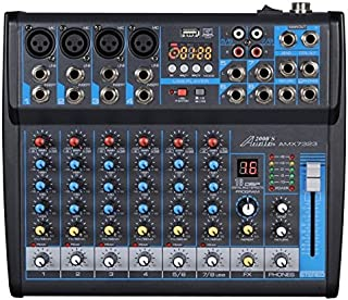 Audio2000'S AMX7323-Professional Eight-Channel Audio Mixer with USB Interface, Bluetooth, and DSP Sound Effects (AMX7323)