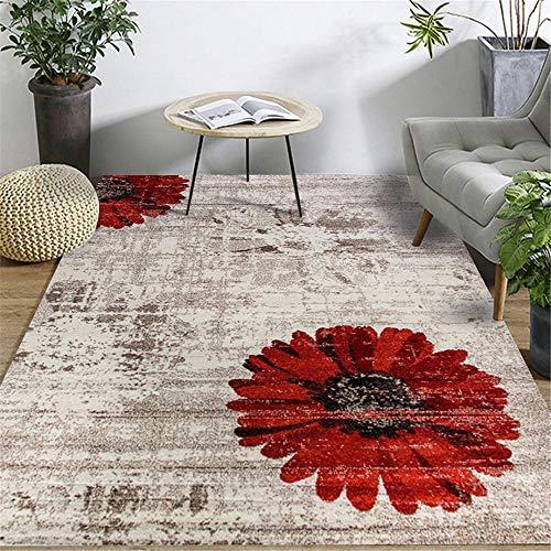 RUGYUW Alfombras Dormitorio Diseño Floral de Estilo Retro Negro Rojo Gris,Moderno Decorativa Lavable Peluda Antideslizante Yoga Alfombra (2'7''X3'11''ft)