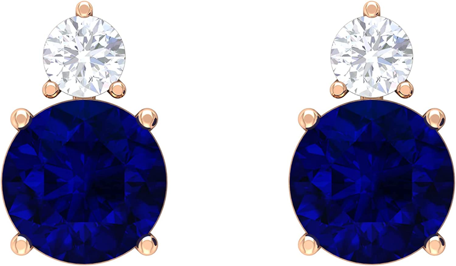 2.25 CT Created Blue Sapphire and Moissanite Stud Earrings (AAAA Quality),14K Solid Gold,Lab Created Blue Sapphire