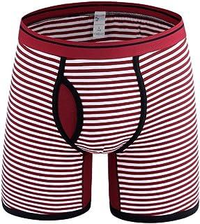 Just For Plus Men's Cotton Boxer Plus Size Breathable Underwear Classic Stripe Briefs Black, 4XL