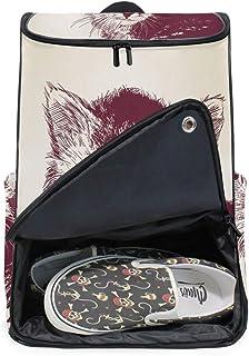 DEZIRO - Mochila para ordenador portátil, diseño de gato, color borgoña