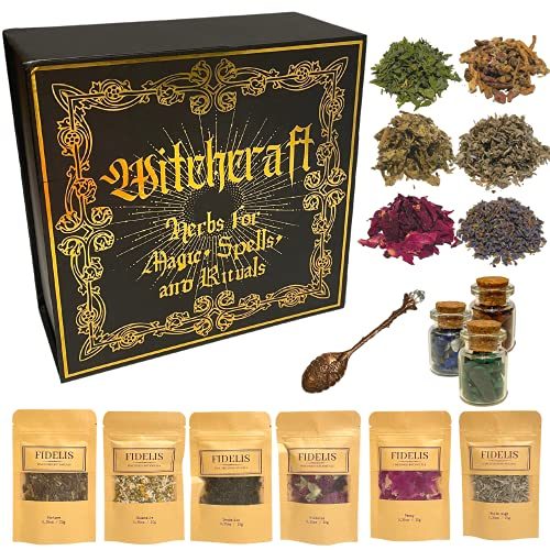 Witchcraft Supplies and Herbs for Spells 25 Premium Fine Dried Botanicals and 3 Crystal Stones for Wicca and Pagan Rituals, Alter Supplies, Magic Spells Green Witch