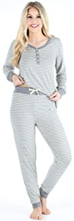 Women's Knit Long Sleeve Henley and Pant Pajama Set