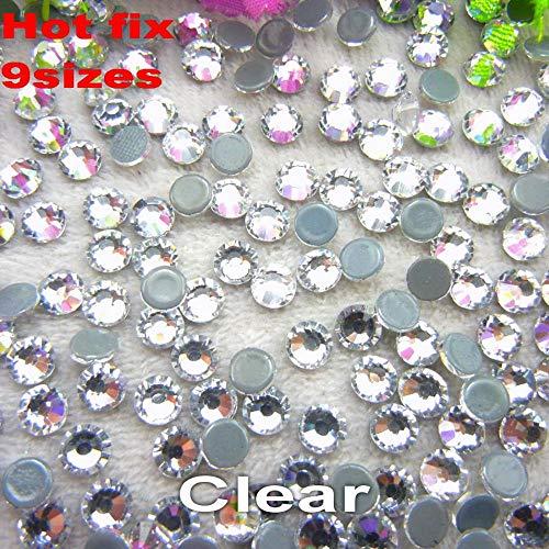 Hot fix DMC Crystal Clear 9 Sizes Round Shape Flatback Glass Rhinestone Beads hot fix Iron on Garment DIY Decoration Trimming,SS20 1440pcs
