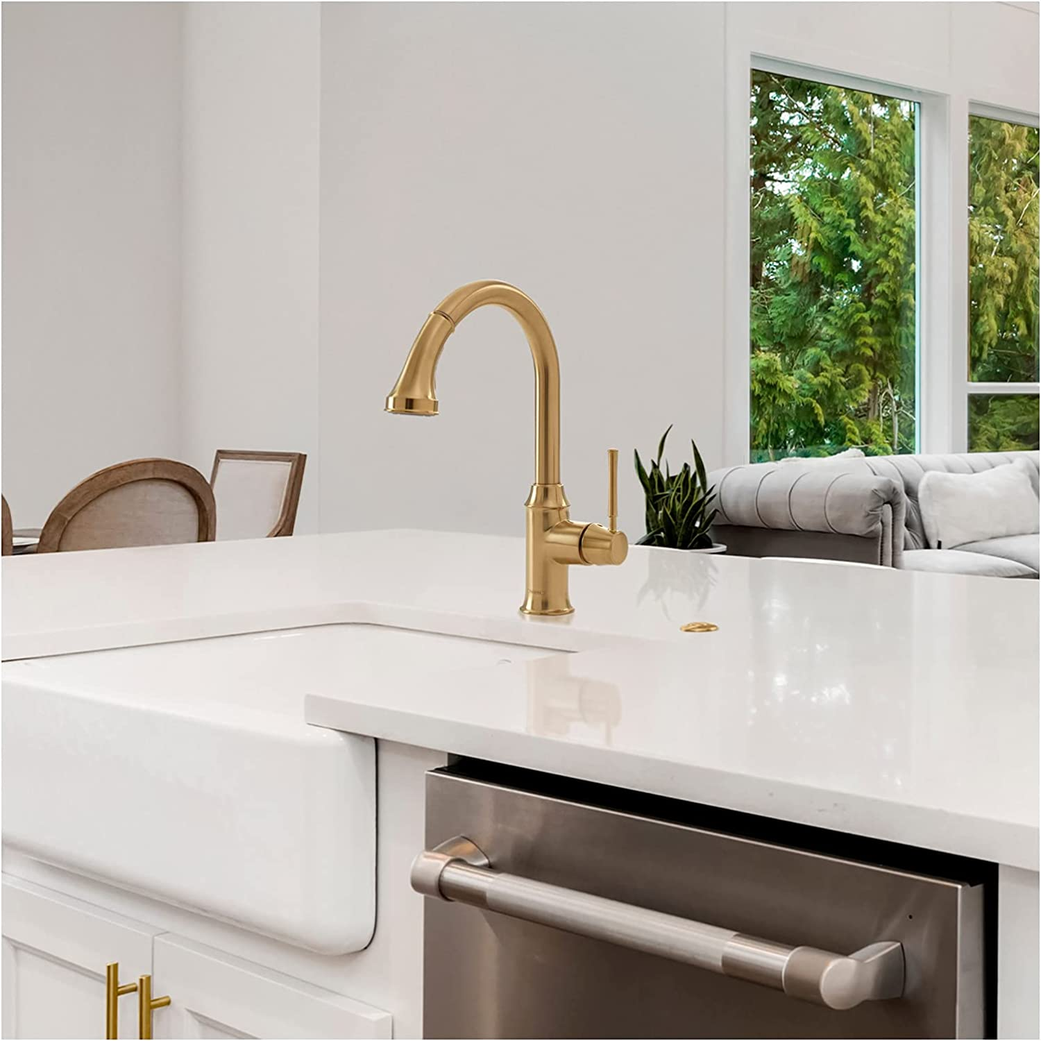 Buy Hansgrohe Talis C Kitchen Faucet 1 Handle 15 Inch Tall Pull Down Sprayer In Brushed Gold Optic 04215250 Online In Indonesia B0858myvf9