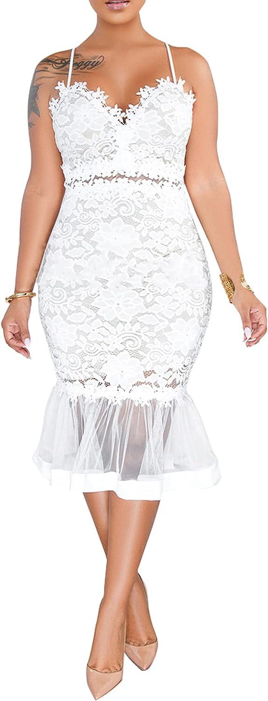 Women Sexy Floral Lace Mesh Sheer Hollow Out Deep V Neck Spaghetti Strap Bodycon Pencil Mermaid Midi Dress