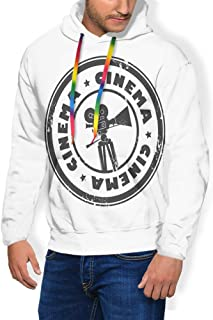 GULTMEE Men's Hoodies Sweatershirt, Abstract Grunge Stamp with Movie Camera and The Word Cinema Inside,5 Size