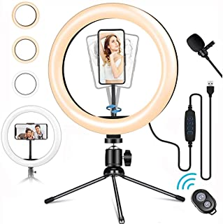 LED Ring Light with Mic, 10' 10 Brightness Dimmable Ringlight with White/Soft/Warm 3 Light Modes for Makeup Selfie YouTube TikTok Live Streaming Record Videos (Metal)