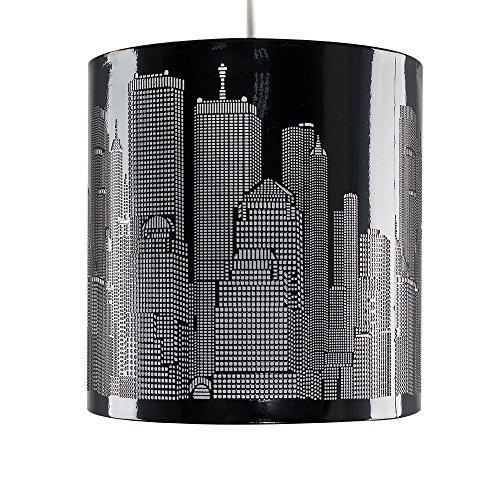 MiniSun Abats Jour Pour Suspension Existante. Design Rétro. Gratte Ciel de NEW YORK. Tambour en Noir Brillant Perforé avec Doublure Translucide. Adapté pour douille de 28 mm ou de 42 mm