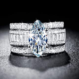 MAIHAO 925 Silver Jewelry Marquise Cut 2.85ct White Sapphire Women Wedding Ring Set Size 6-10 (US Code 8)