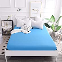 Easy Care Soft,Polyester Solid Color Sheets,Single and Double King Size dust Cover for Apartment Bedroom-Blue_180*200cm+28cm