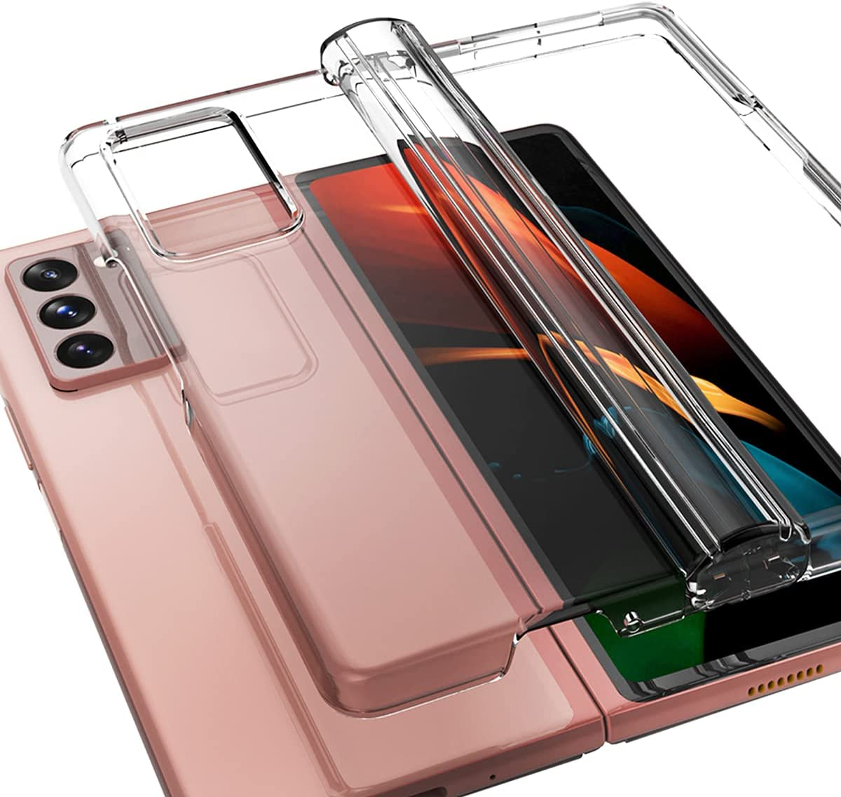 araree Nukin 360 Compatible with Samsung Galaxy Z Fold 2 5G Cover Clear Transparent Surrounding Hinge Part Protection Hard Polycarbonate Lightweight Case - Clear