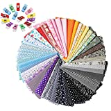 Quilting Fabric for Sewing, Ehpow 50pcs Floral Pattern 9.84' x 9.84' (25cm x 25cm) Craft Fabric Bundle Patchwork Pre-Cut Quilt Squares Fabric, with 50pcs Colorful Plastic Wonder Clip Sewing Clips