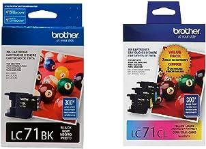 Brother LC71 Ink Cartridge (Black, Cyan, Magenta, Yellow, 4-Pack) in Retail Packaging