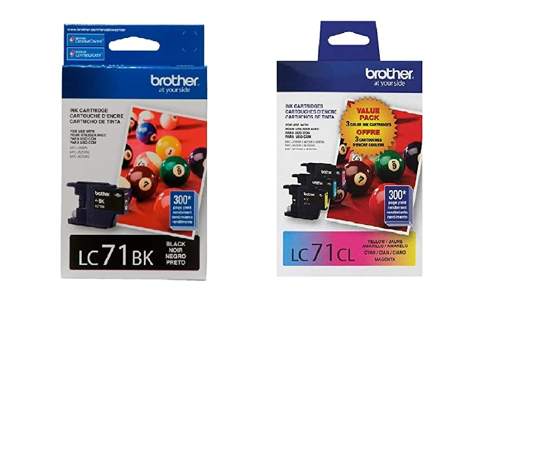 Brother LC71 Ink Cartridge (Black, Cyan, Magenta, Yellow, 4-Pack) in Retail Packaging