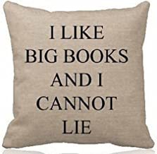 Queen's designer Cotton Linen Square Decorative Throw Pillow Case Cushion Cover I Like Big Books and I Cannot Lie(Background Pattern) 18