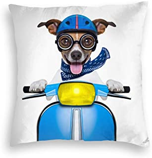 Soft Velvet Throw Pillow Cover Case, Crazy Speed Dog Wearing Blue Helmet Riding Motorcycle Fade Resistance Cushion Covers, Novelty Decorative Square Pillowcase for Bedroom Travel Birthday Gift
