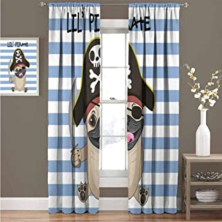 GUUVOR Pirate Blackout Curtain Buccaneer Dog in Cartoon Style Costume Lil Pirate Striped Backdrop Funny Animal 2 Panel Sets Curtain 100