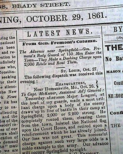 Rare DAVENPORT Iowa Civil War Era First Battle of Springfield MO 1861 Newspaper DAVENPORT DAILY GAZETTE, Iowa, October 29, 1861