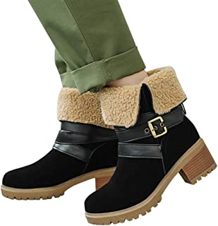 Dainzuy Women's Winter Snow Boots Strap Buckle Keep Warm Chunky Block Heel Faux Fur Outdoor Mid-Calf Ankle Boots