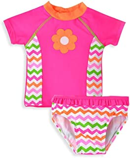 Baby Girl Swimsuit Toddler Kid Short Sleeve Two Pieces Bathing Suit Rash Guard Set