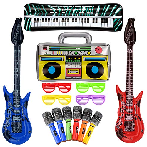 SAVITA 10 pcs Inflatable Rock Star Toy Set Inflatable Guitar Piano Party Props for Concert Theme 80s Party Decorations Favors Random Color