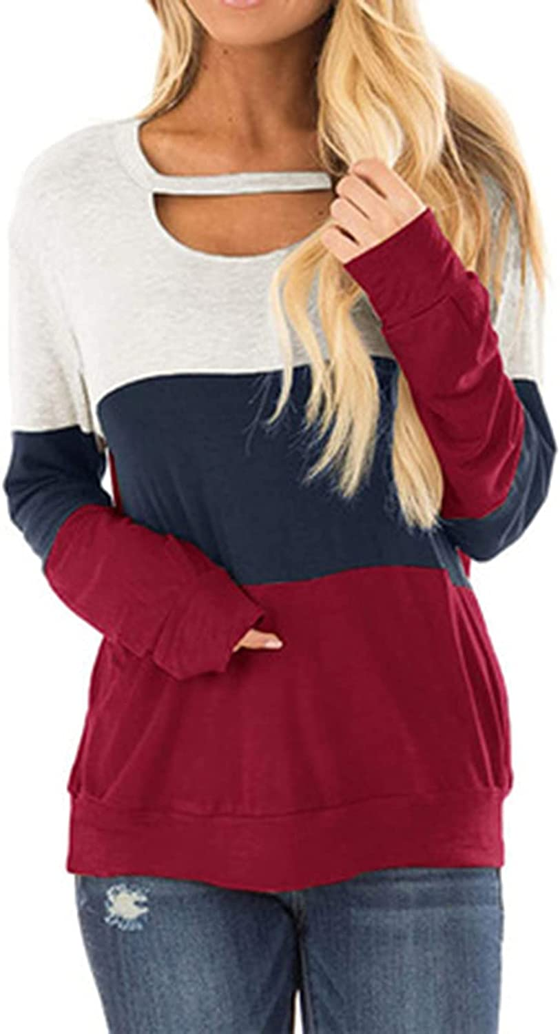 Casual Hollow Low O Neck Long Sleeve T-Shirt for Women Summer Patchwork Loose Blouse Tops Comfortable Tunic Tee