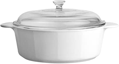 CorningWare Glass-Ceramic Pyroceram Classic Casserole, 2.5 Quart, 2.25 Liter, Cooking Pot with Handles & Glass Cover, Whit...