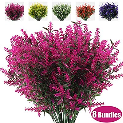 RECUTMS 8 Bundles Artificial Flowers Fake Outdoor Plants Faux UV Resistant Lavender Flower Plastic Shrubs Indoor Outside Hanging Decorations (Fuchsia)