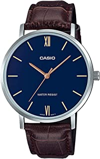 Casio MTP-VT01L-2BUDF Round Crocodile Embossed Brown Leather Analog Watch for Men, Blue Dial